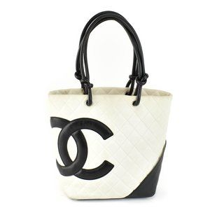 CHANEL Cambon: Off-White Quilted Leather & CC Tote